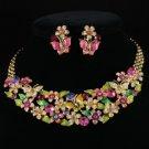 Vogue Enamel Flower Butterfly Necklace Earring Set W/ Swarovski Crystals 96901