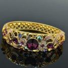 18K Gold GP Swarovski Crystals Flower Bracelet Bangle W Purple Enamel SKCA1609A