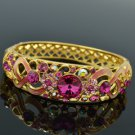 18K Gold GP Swarovski Crystals Flower Bracelet Bangle W Pink Enamel SKCA1609A-5