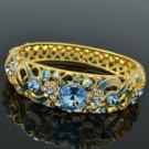 18K Gold GP Swarovski Crystals Flower Bracelet Bangle W Blue Enamel SKCA1609A-5