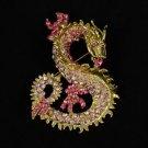 Animal Dragon Brooch Pin w/ Pink Rhinestone Crystals Pendant 2980