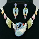 H-Quality Animal Swan Necklace Earring Set W/ Mix Swarovski Crystals SNA3173-5