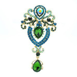 "Chic Drop Flower Brooch Broach Pin 3.5"" W/ Green Rhinestone Crystals 5947"