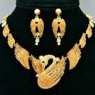H-Quality Animal Topaz Swan Necklace Earring Set W/ Swarovski Crystals SNA3173-2