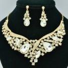 Elegant Weeding Drop Flower Necklace Earring Set Clear Rhinestone Crystals 02570