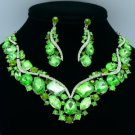 Drop Oval Wave Flower Necklace Earring Set w Green Rhinestone Crystals 02427