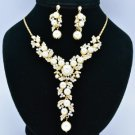 Bride Faux Pearl Necklace Earring Jewelry Sets w/ Clear Swarovski Crystals 70101