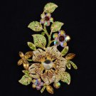"Vintage Style Brown Flower Brooch Broach Pin 4.8"" W/ Rhinestone Crystals 4712"