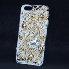 Gold Tone Starfish Mermaid Skull Cover Case Shell For iPhone 5 5S Clear Crystals
