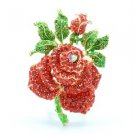 "Swarovski Crystals Red Rose Flower Brooch Broach Pin 2.6"" W/ Green Leaf"