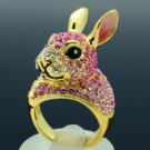 High Quality Bunny Rabbit Cocktail Ring 9# W/ Pink Swarovski Crystals SR1842
