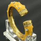 High-Quality Vpgue Yellow Enamel Bracelet Bangle W/ Clear Swarovski Crystals