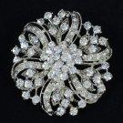 Clear Rhinestone Crystal Round Flower Brooch Broach Pin 4 Bridal Wedding 3804