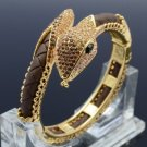 Gold Tone Brown Swarovski Crystals Synthetic Leather Snake Bracelet Bangle