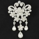 "Bridal Wedding Dangle Flower Brooch Pin 4.3"" W/ Clear Rhinestone Crystals 4859"