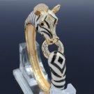 Gold Tone Enamel Animal Horse Zebra Bracelet Bangle W/ Clear Rhinestone Crystal