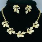 High Quality Opal Multi Leaf Necklace Earring Set W/ Clear Swarovski Crystals