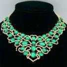 Fashion Green Acrylic Necklace Pendant W/ Rhinestone Crystals D2868
