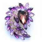 "Flower Pendant Brooch Broach Pin 2.7"" W/ Purple Swarovski Crystals 4993"