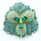 "4.0"" Teardrop Green Flower Pendant Brooch Broach Pin W/ Rhinestone Crystals 4914"