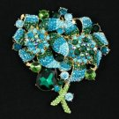 "4.4"" Drop Green Leaf Floral Brooch Pin Accessories W/ Rhinestone Crystals 4916"