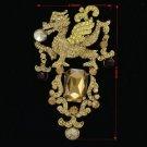 """Animal Dragon Brooch Broach Pin 4.3"""" W/ Topaz Rhinestone Crystals 5121"""