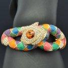 Multi-Color Swarovski Crystals Enamel Snake Bangle Bracelet Cuff SKCA2077M-4