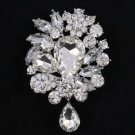 "5pcs Rhinestone Crystals Fashion Clear Flower Brooch Pin 3.1"" Wholesale 3857"