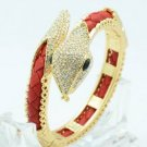 Gold Tone Swarovski Crystals Synthetic Leather Red Snake Bracelet Bangle Cuff