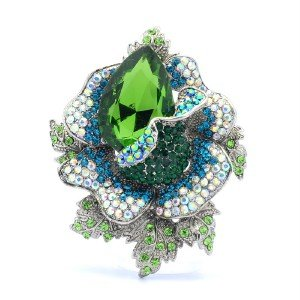"Cute Green Rhinestone Crystals Rose Flower Brooch Broach Pin 2.7"" 5840"