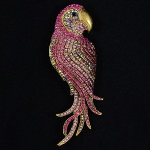 "Vintage Style Swarovski Crystals Pendant Pink Bird Parrot Brooch Pin 4.7"" 4552"