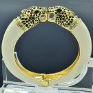 White Enamel 2 Panther Leopard Bracelet Bangle Cuff W Swarovski Crystal 01063