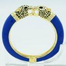 Sea Blue Enamel 2 Panther Leopard Bracelet Bangle Cuff  Swarovski Crystal 01063
