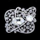 """Bridal Flower Brooch Broach Pin 3.1"""" W/ Clear Rhinestone Crystals 5946"""