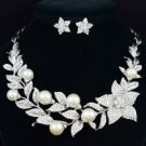 White Pearl Flower Necklace Earring Set Clear Swarovski Crystals Wedding 145101