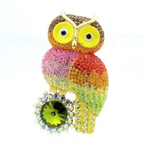 Lovely High Quality Owl Brooch Broach Pin W/ Multicolor Swarovski Crystals