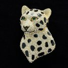 Good Quality Swarovski Crystals Panther Leopard Head Brooch Broach Pin SBA4468
