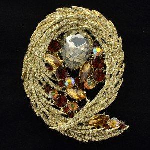 Delicate Drop Rhinestone Crystals Brown Flower Brooch Brooch Pin 4236