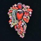 """Red Flower Brooch Broach Pin W/ Rhinestone Crystals 3.3"""" 4857"""