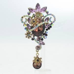 Rhinestone Crystals Vintage Purple Flower Charm Broach Brooch Pendant 6301