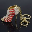 Pretty Red Enamel High-Heel Shoe Key Ring KeyChain W/ Clear Rhinestone Crystals
