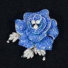 """Rhinestone Crystals Retro Cute Blue Rose Flower Brooch Broach Pin 2.1"""""""