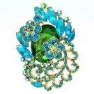 "Rhinestone Crystals Chic Green Flower Brooch Broach Pendant Pin 2.6"" 6329"