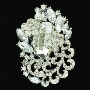 """Rhinestone Crystals Wedding Clear Flower Brooch Broach Pendant Pin 2.6"""" 6329"""