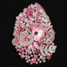 "4.1"" Pink Flower Pendant Brooch Broach Pin W/ Rhinestone Crystals 5657"
