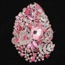 "4.1"" Pink Flower Pendant Brooch Broach Pin W/ Rhinestone Crystals 5657"