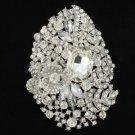 """Bridal Rhinestone Crystals Clear Flower Brooch Broach Pin 4.1"""" For Wedding 5657"""