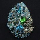 """Rhinestone Crystals Pretty Green Flower Brooch Broach Pin 4.1"""" 5657"""