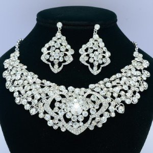 4 Color Heart Flower Necklace Earring Sets W/ Rhinestone Crystals 02633