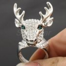 Swarovski Crystals H-Quality Clear Animals Deer Cocktail Ring 7#,8#,9# SR1816-2